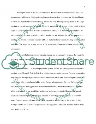 making a chocolate cake essay example topics and well written  making a chocolate cake essay example