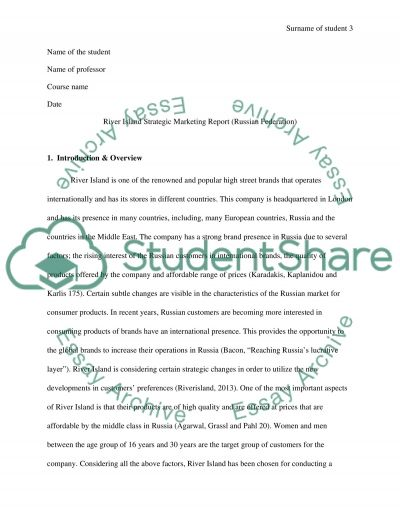River Island Strategic Marketing Report (Russian Federation) essay example