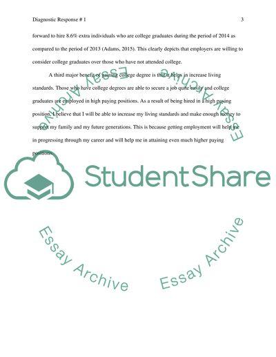 College degree essay example