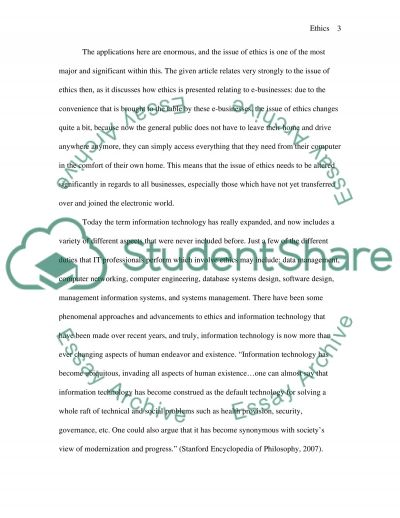Ethics (relating to information technology) essay example