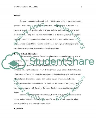 Quantitative Analysis on Article: Reducing Teachers Stress essay example