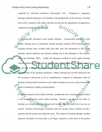 Pros and cons of the different learning methods essay example