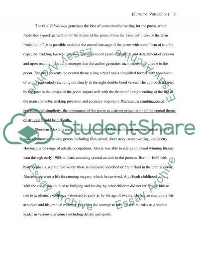 Valediction by Sherman Alexie essay example