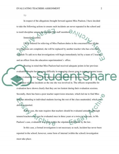 Evaluating Teachers Assignment essay example