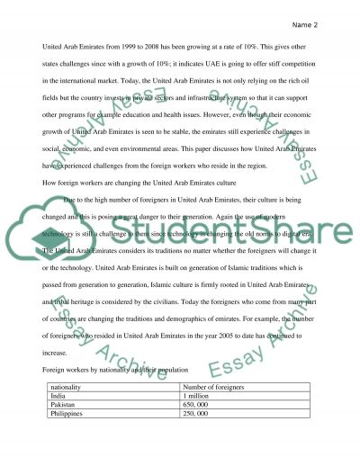 negative in foreigners worker in the uae Essay example