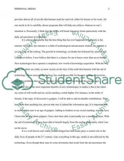 Personal Media essay example