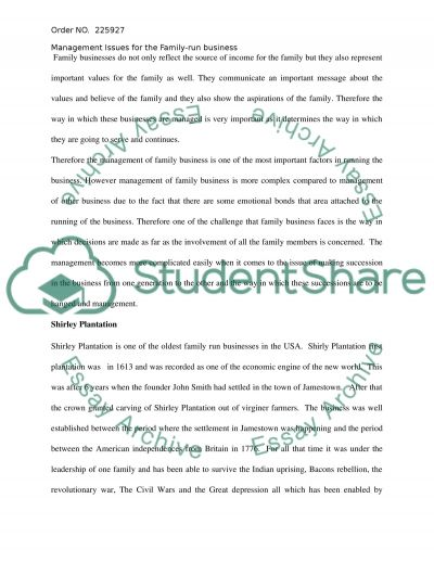 Family Run Business Essay Example