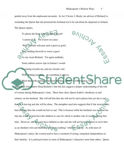 Shakespeares Historic Plays essay example