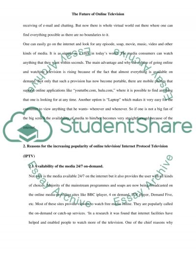 Online Television essay example