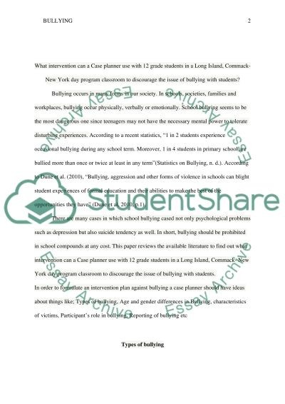 Bullying. Types of bullying. Age and gender differences in Bullying essay example
