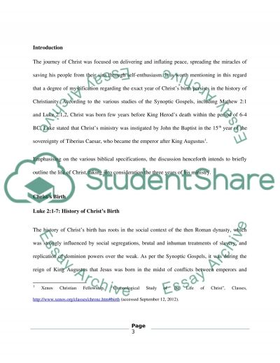The Life of Christ essay example