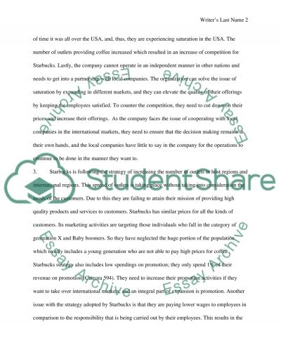 Case Study: Starbucks-Going Global Fast Essay example