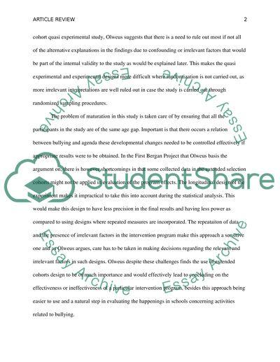 School Bulling Intervention Program by Olweus