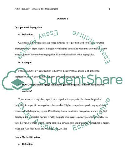 Article Review - Strategic HR Management