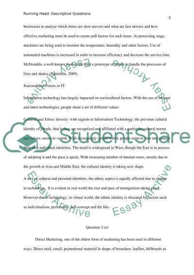 Descriptive questions essay example