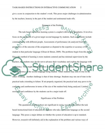 Task-based Instructions in Interactive Communication essay example