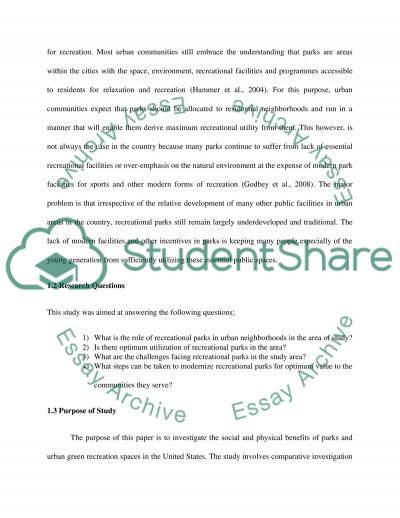 Social and Physical Benefits of Parks and Recreation Space essay example