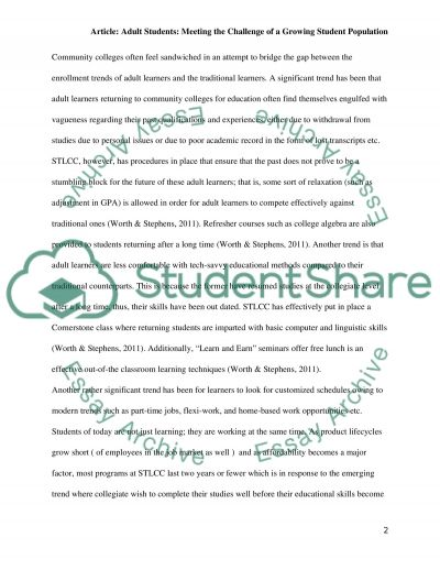 Adult Students:Meeting the Challenge of a Growing Student Population essay example