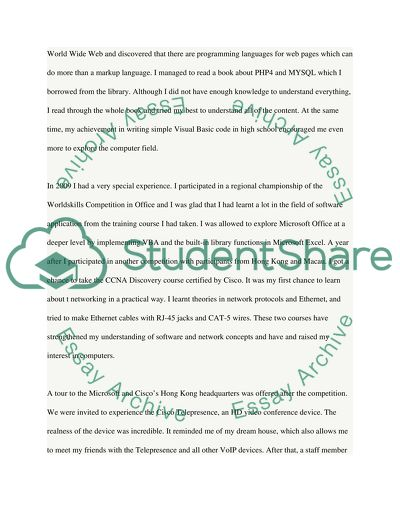 Computer science and information technology major personal statement