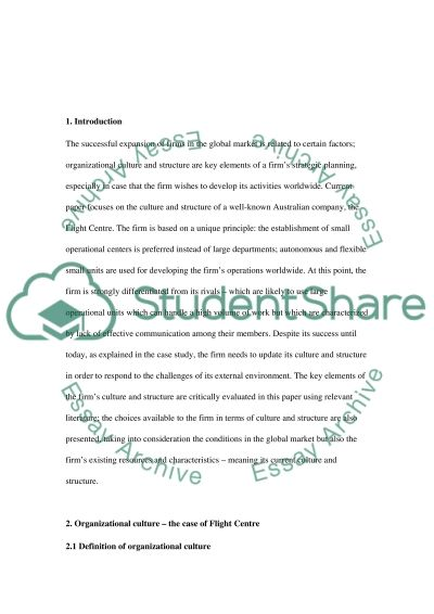 Business Analysis Report - Flight Centre essay example