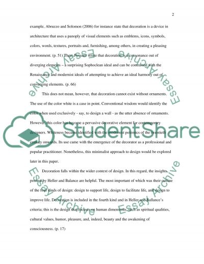 Do we need Decoration to create a Pleasing Environment essay example