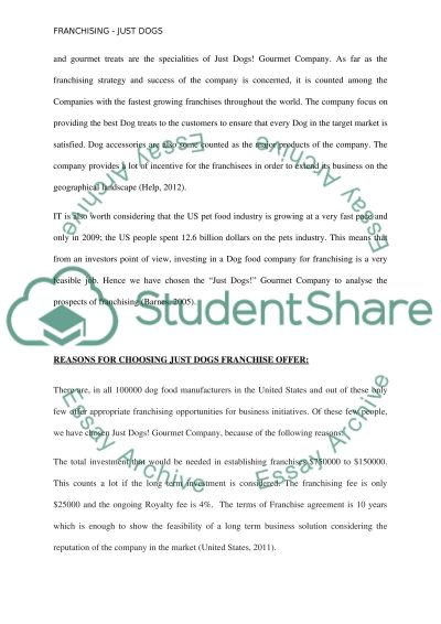 Franchising--Just Dogs essay example