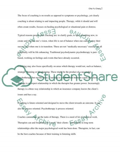 The difference between coaching and psychotherapy essay example
