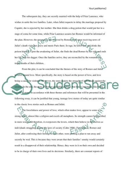 shakespeare s romeo and juliet compared to teenage love in today s  shakespeares romeo and juliet compared to teenage love in todays society essay example