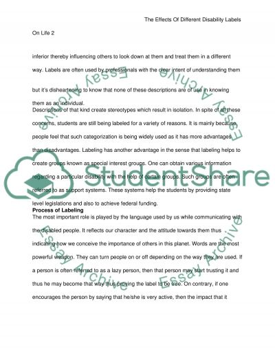 The Effects of Different Disability Labels On Life essay example