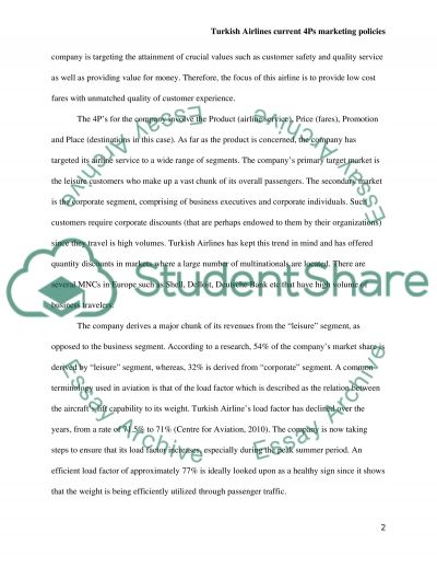 Turkish Airlines Current 4Ps Marketing Policies essay example