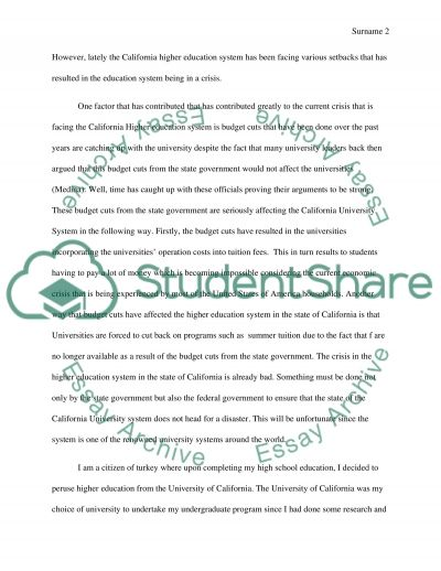 Higher Education in the State of California essay example