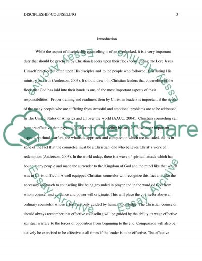 Discipleship Counseling Paper Research Paper example