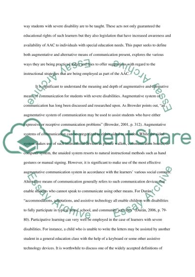 Augmentative and alternative means of communication for teaching students with severe disabilities essay example