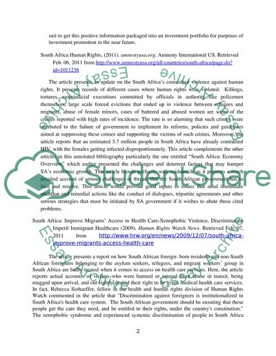 Annotated Bibliography on Human Rights