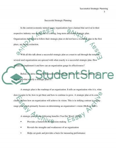 SUCCESSFUL STRATEGIC PLANNING essay example