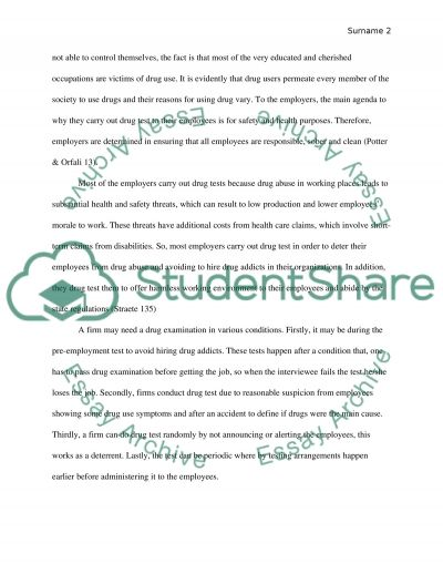 Drug testing for employers essay example