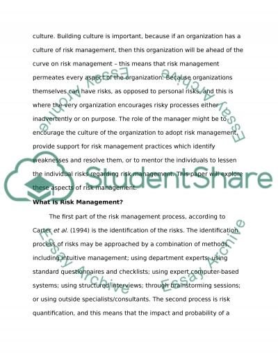 Analyse the nature of risks in healthcare and critically discuss the role of managers in minimizing and managing risks essay example