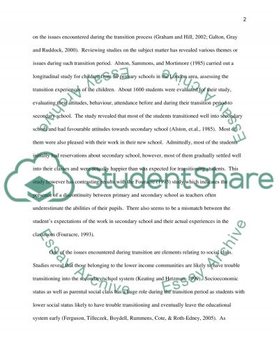 Education. What issues can arise during 'transition' essay example