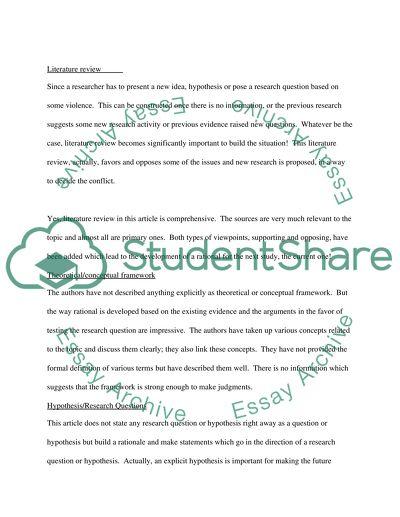 sample nursing quantitative research critique paper