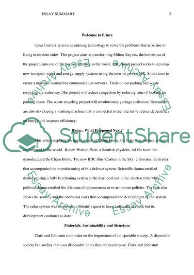 Summary Essay Example  Topics And Well Written Essays   Words   Summary
