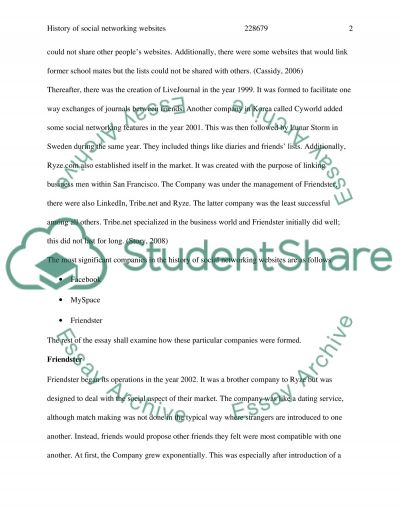 History of Social Networking Websites essay example