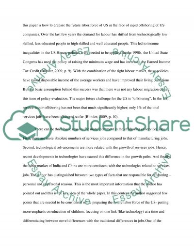 Offshoring essay example