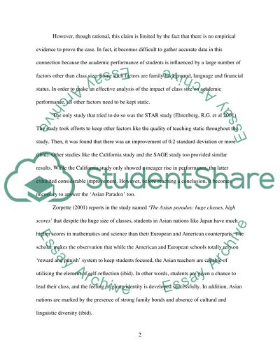 Read the case studies to finish the essay within title of primary school pupils can achieve academic success only if they are taught in small class. to what extend do you agree with this statmente