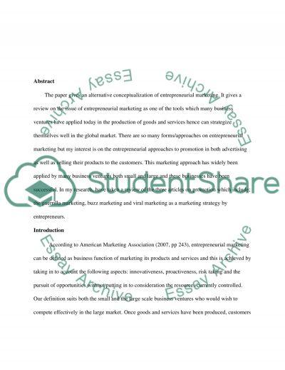 Entrepreneurial Marketing essay example