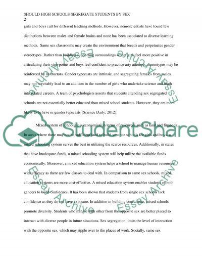 Should High Schools Segregate Students by Sex essay example