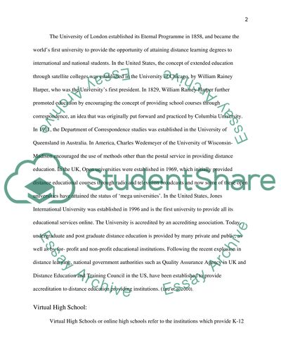 Distance Learning Education Research Paper