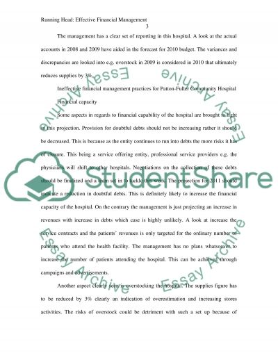 Financial Management in Health Care / Health Care Budget essay example