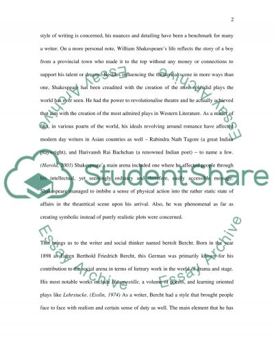 Brecht and Shakespeare essay example