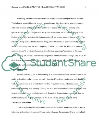 Development of Healthy Relationships essay example