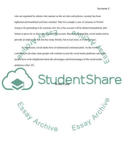 Argumentative essay about social media